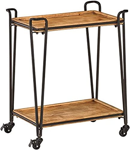 Amazon Brand Rivet 2-Tiered Modern Kitchen Rolling Bar Cart with Wheels, 32.3 W, Natural, Gold