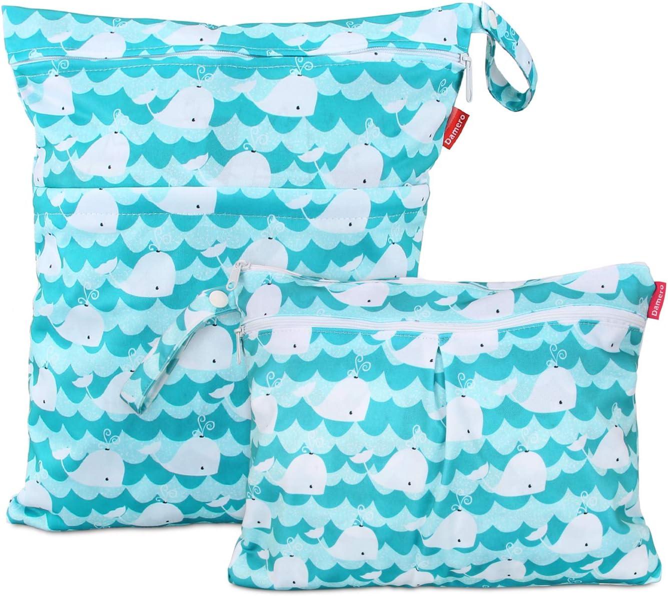 Damero 2 piezas Bolsa de Pañales Reutilizable, Bolsa de Cambio de Pañal para Bebes Impermeable, Bolsa para la Ropa de Bebé para pañales, ropa sucia y más