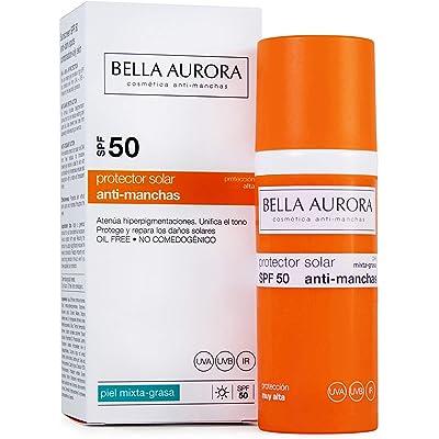 Bella Aurora Protector Solar Facial SPF +50 Piel Mixta-grasa   Crema de protección Solar, 50 ml