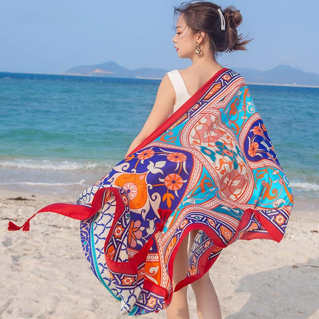 Ethnic Style Cotton and Linen Scarves Ladies Oversized Travel Shawl Long Retro Tassel Pendant Beach Towel Sunscreen Warm Multi-Design (Edition : I)