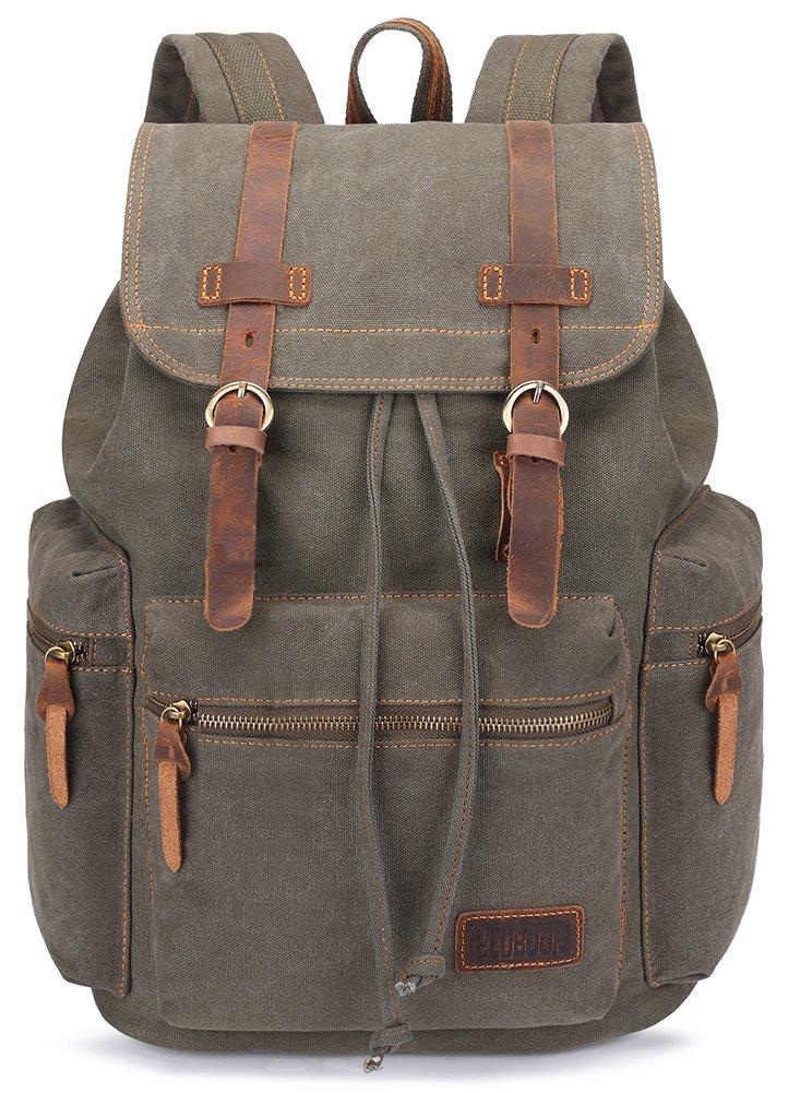 Green Vintage Canvas Backpack rucksack for travel and school men women daypack