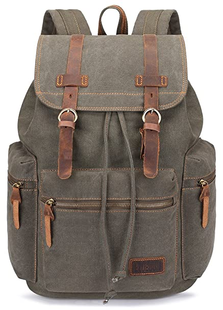 a494fe48a415 BLUBOON Vintage Canvas Backpacks School Unisex (Green)  Amazon.co.uk   Luggage