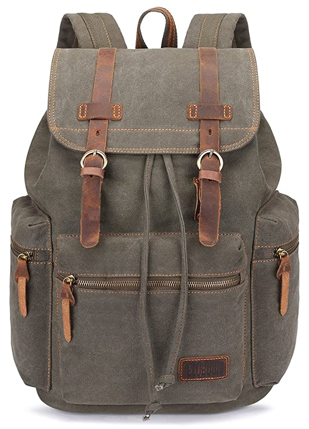 b064e3032b8b BLUBOON Canvas Vintage Backpack Leather Casual Bookbag Men Women Laptop  Travel Rucksack