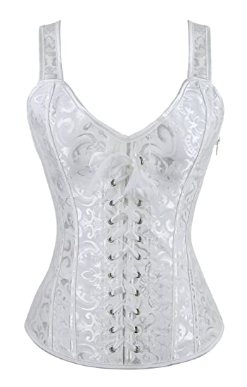 6f02b6ce2ff Charmian Women s Lace-up Renaissance Brocade Boned Busiter Corset with  Straps White XXX-Large