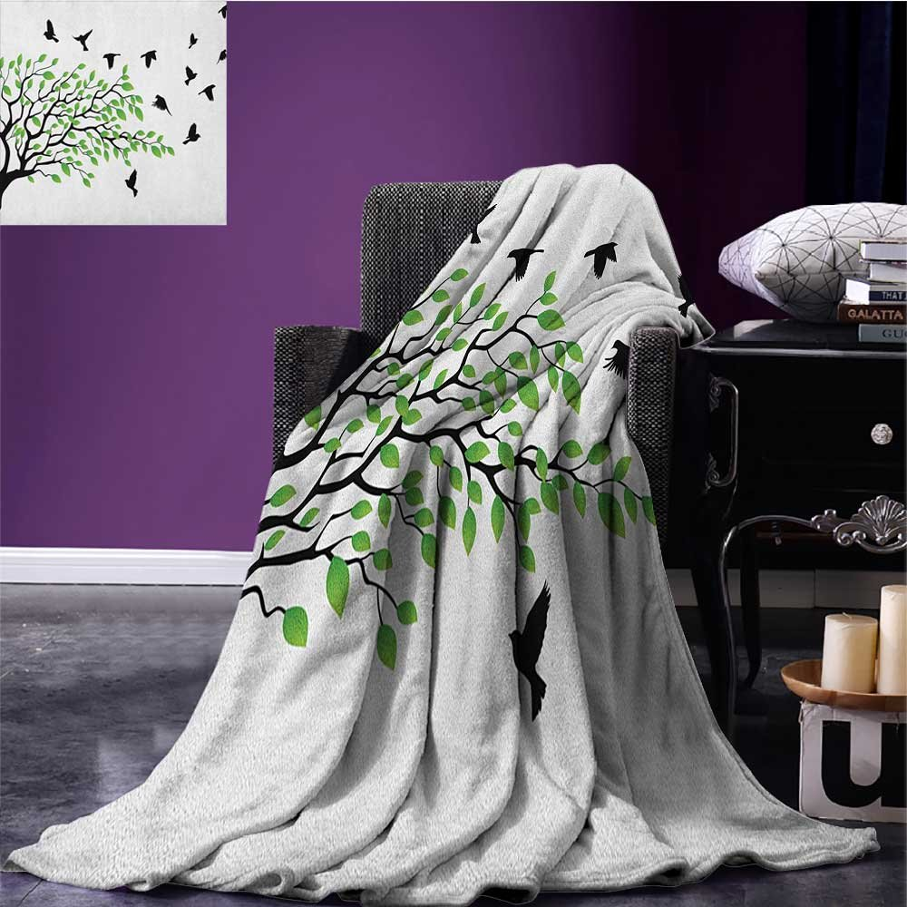 Birds Picnic Blanket Spring Tree with Silhouette of Flyind Birds Wind Liberty Peace Design Living Soft Throw Blanket Green Black White Size:50'x60'