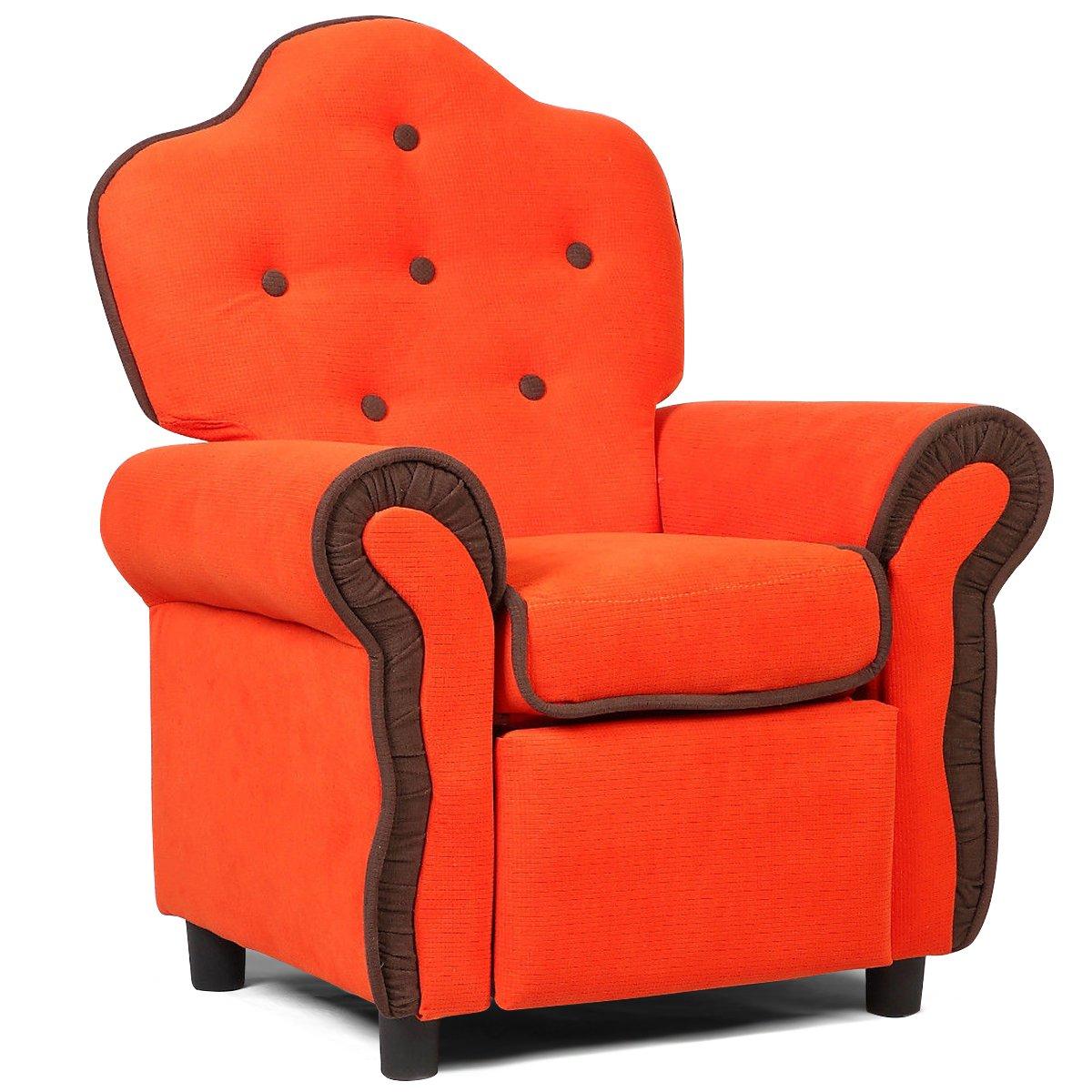 Costzon Velvet Kids Recliner Sofa, Living Room Furniture, Orange by Costzon