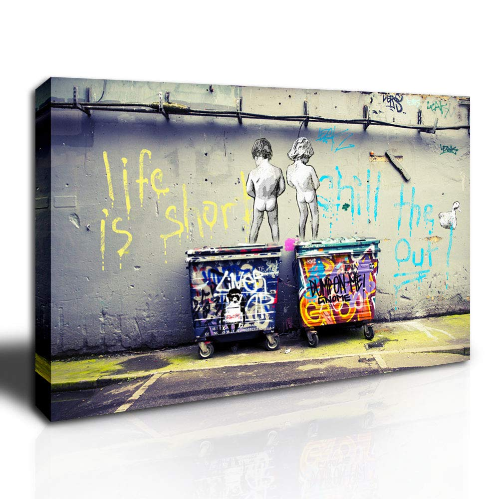Dingdong art graffiti street art canvas graffiti art prints on canvas stretched framed canvas wall art decor for living room home walls ready to hang