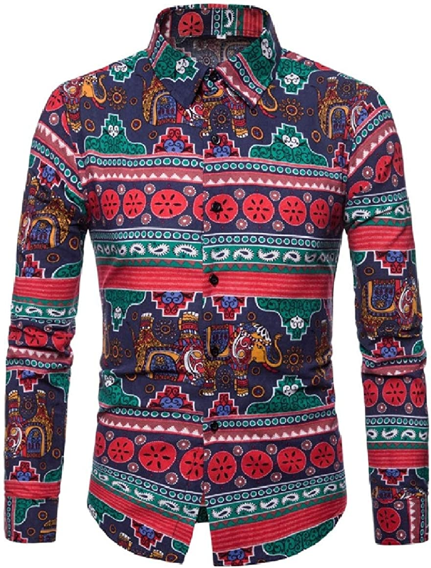 RingBong Mens Standard-fit Casual Lapel Long Sleeve Navajo Floral Cardigan Shirt