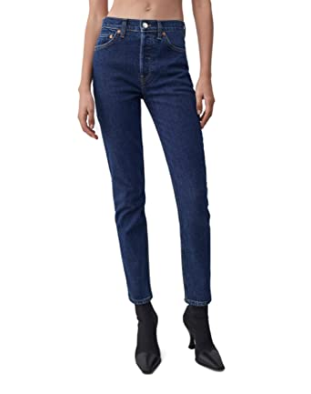 d02b3cf35bce RE DONE Comfort Stretch High Rise Ankle Crop - Dark 71 at Amazon Women s  Jeans store