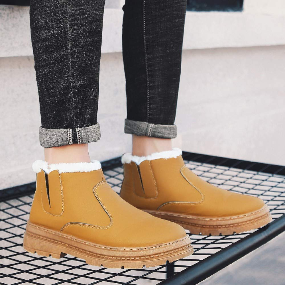Colmkley Mens Warm Shoes Snow Boot Fashion Anti-Slip Plus Velvet Ankle Sneakers