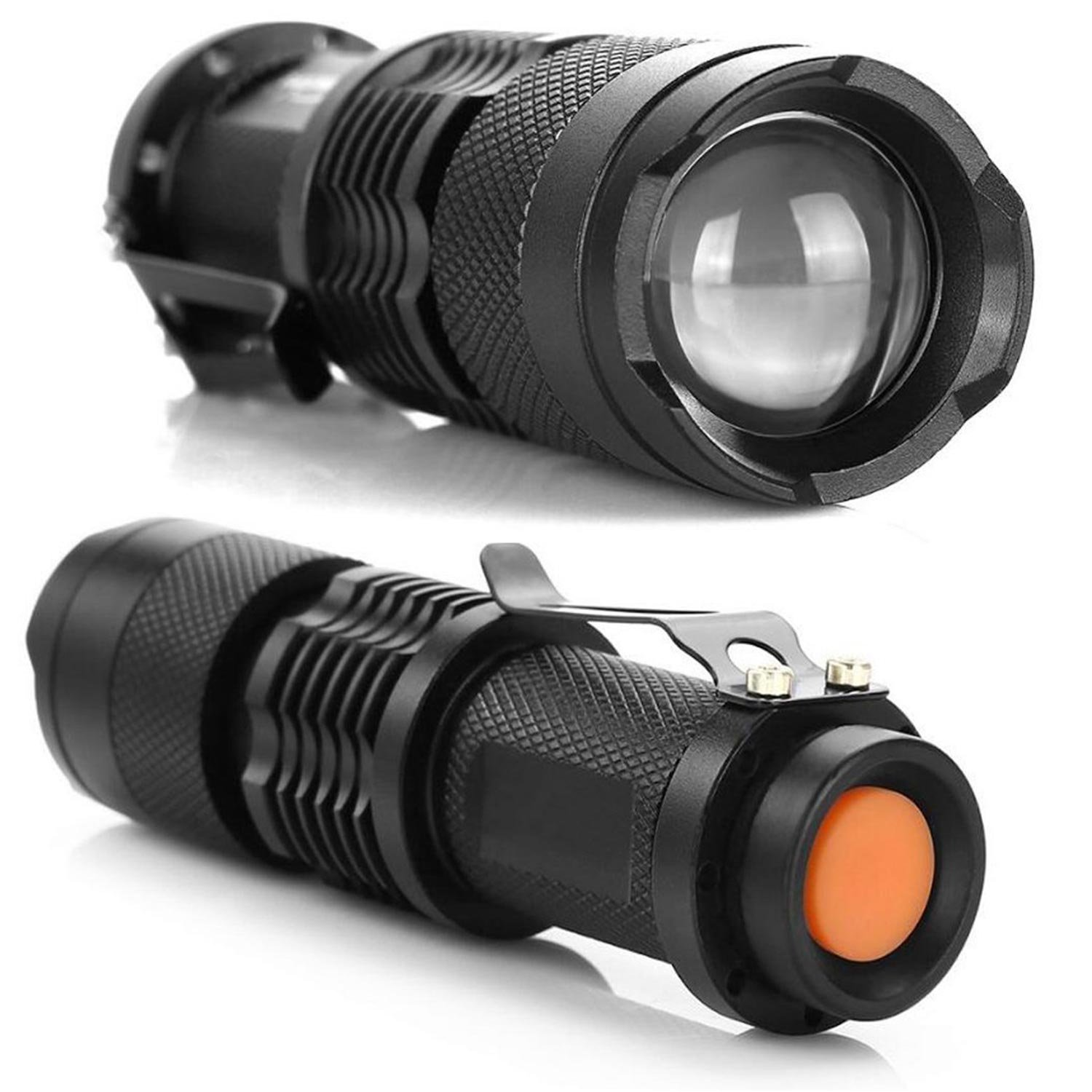 CoreLife 3 Pack Small Flashlights High Lumens LED Zoom and 3 Modes Black Tactical Flashlights