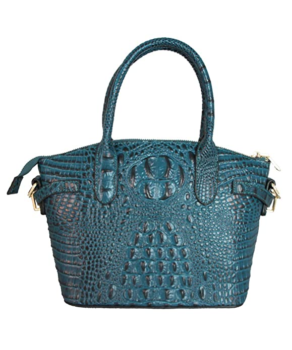 f004ebe6facc FIORI EE0019 Navy Blue Genuine Crocodile Pattern Cow Leather Handbag.