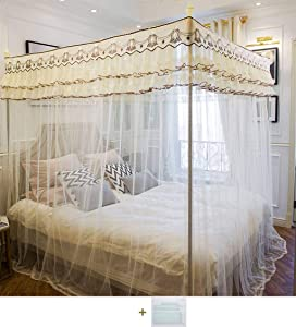 Mosquito Net Princess Bed Canopy,4Prism with Bed Canopy Frame Bed Canopy Bed Curtain Elegant Adults Kids Rooms Bedroom Décor Lace-G-1.8m