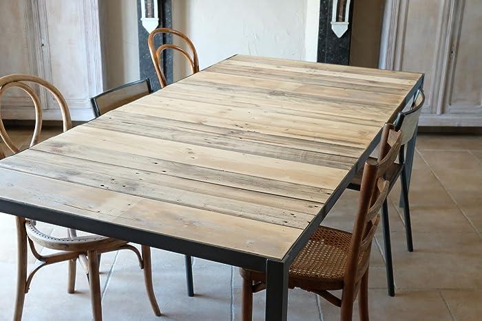 Table A Manger Bois Et Metal.Table De Salle A Manger Industrielle En Bois Et Metal