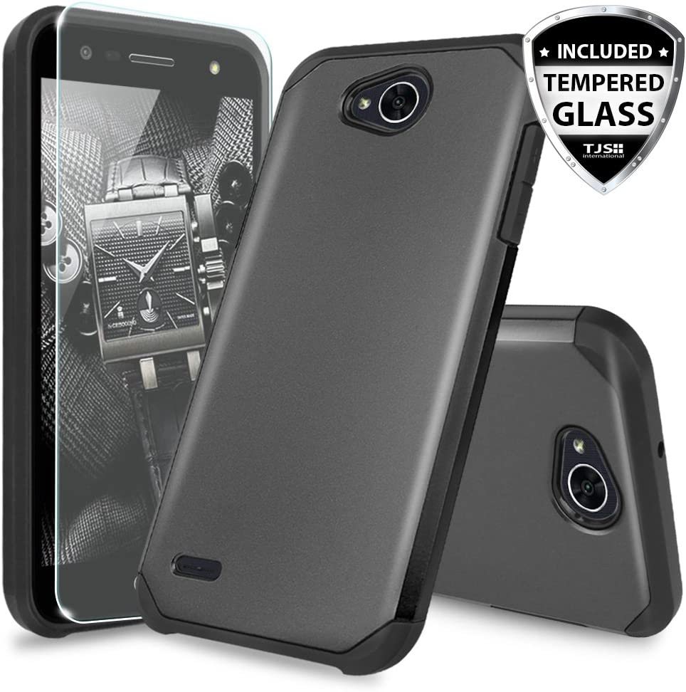 LG X Power 2 M320 / LG Fiesta LTE/LG X Charge/LG Fiesta 2 Case, [Tempered Glass Screen Protector] Dual Layer Hybrid Shockproof Drop Protection Rugged Phone Case Armor Cover (Black)