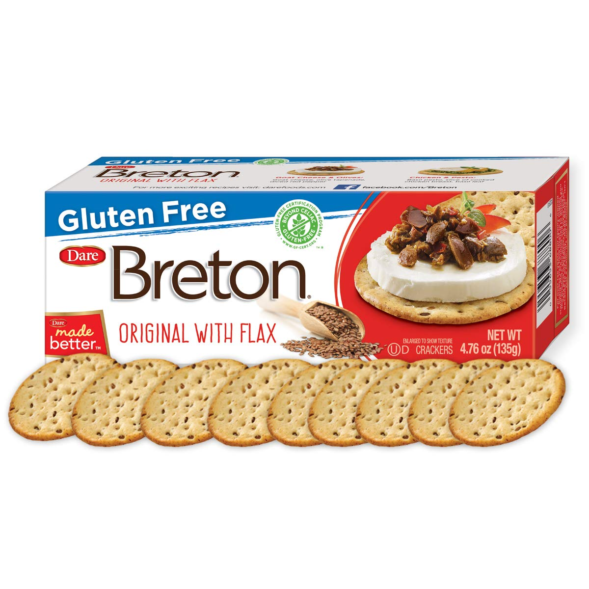 Dare Breton Gluten Free Entertaining Crackers, Original with Flax - Gluten Free Party Snacks with no Artificial Colors or Flavors - 4.76 Ounces (Pack of 6) by Dare