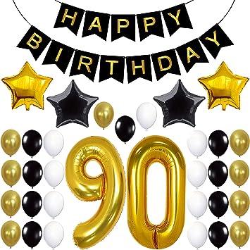 Amazon.com: 90 cumpleaños decoraciones suministros para ...