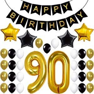 90th Birthday Decorations Party Supplies - Large Number 90 | Happy Birthday Banner | Black and Gold Balloons | 90th Birthday Party Decorations Kit | ...