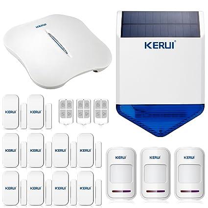 W1 WiFi KERUI PSTN Home antirrobo sistema de alarma contra incendios Kit Solar sirena IOS Android