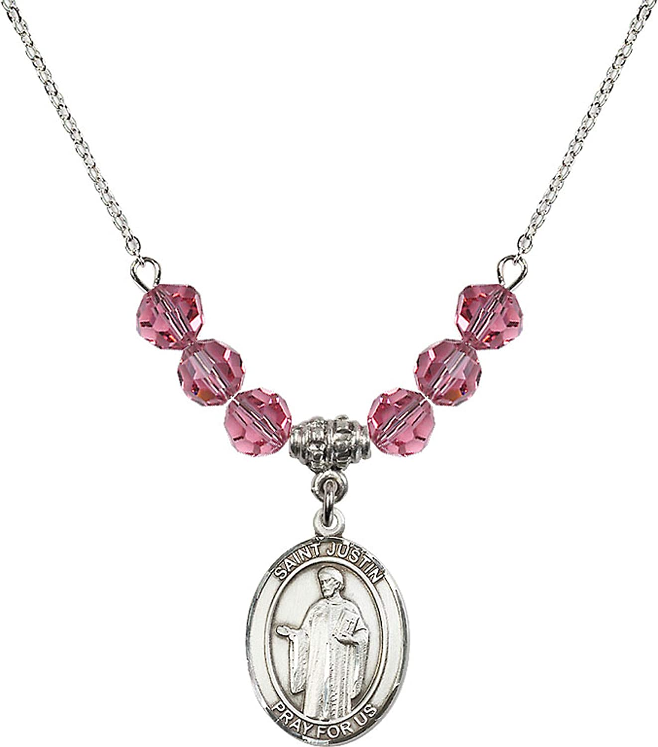 Bonyak Jewelry 18 Inch Rhodium Plated Necklace w// 6mm Rose Pink October Birth Month Stone Beads and Saint Justin Charm