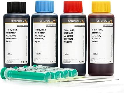 4x recargas de 100 ml de tinta negra, cian, magenta, amarilla, tinta de impresora compatible para Brother LC- 22UBK, LC-22UC, LC-22UM, LC-22UY ...