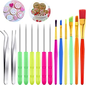 14 Pieces Cake Decorating Tool Cookie Decoration Brushes Scriber Decorating Needle Sugar Stir Needle Elbow and Straight Tweezers Decorating Supplies Tools for Cookie Cake Fondant