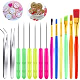 14 Pieces Cake Decorating Tool Cookie Decoration Brushes Scriber Decorating Needle Sugar Stir Needle Elbow and Straight Tweez