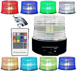 Flypc Wireless LED Amber Emergency Strobe Light Magnetic Flashing Warning, 8 color wireless Led Strobe Light, Truck Car Vehicle Emergency Hazard High Power Beacon Caution Warning (Upgraded version)