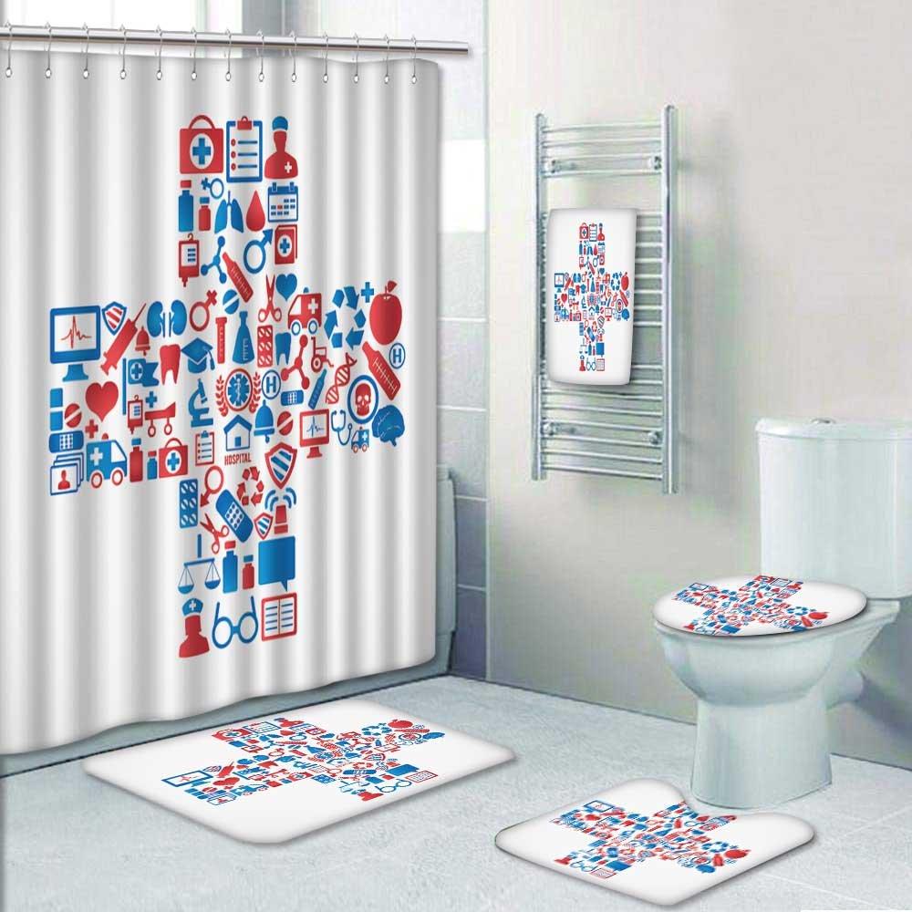 VROSELV Designer Bath Polyester 5-Piece Bathroom Set, medicine ...