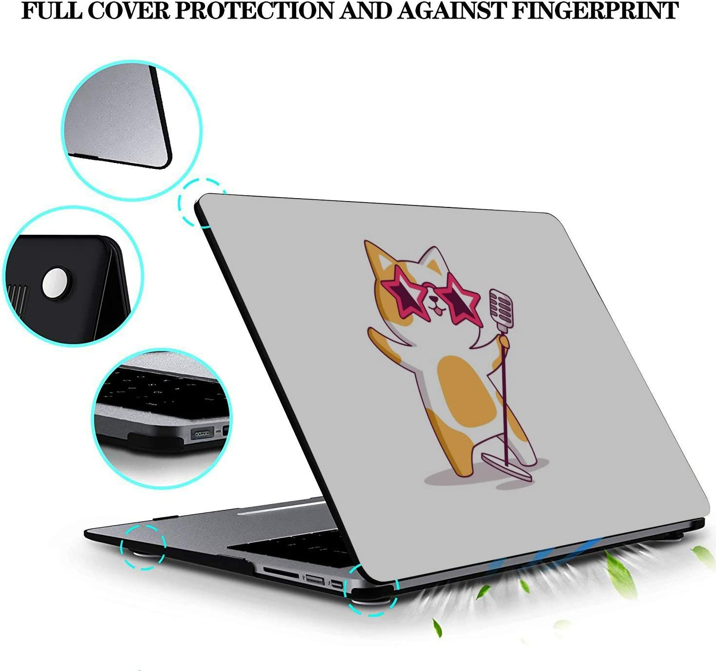 MacBook Covers Cat Singing Music Singer Meowing Plastic Hard Shell Compatible Mac Air 11 Pro 13 15 2018 MacBook Pro Accessories Protection for MacBook 2016-2019 Version