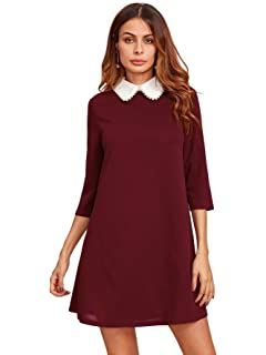 c46be4a074 Floerns Women s Casual Swing Tshirt Dress Flowy Simple Contrast ...