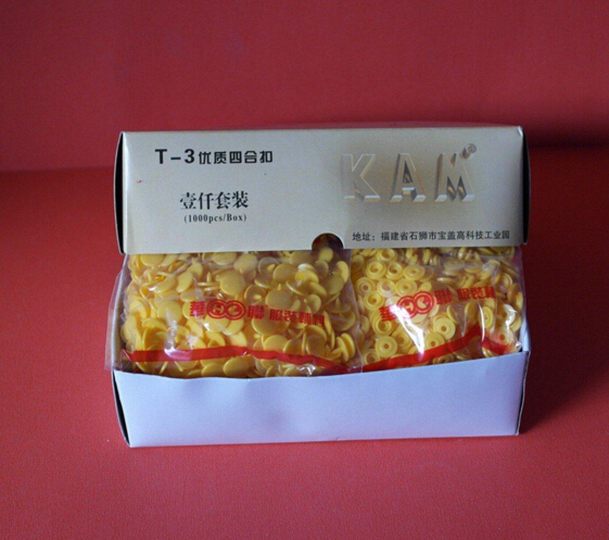 CHENGYIDA 1000-SET Yellow SIZE 16 T3 Round KAM Plastic Resin Snaps Craft Baby Bib Cloth Diaper