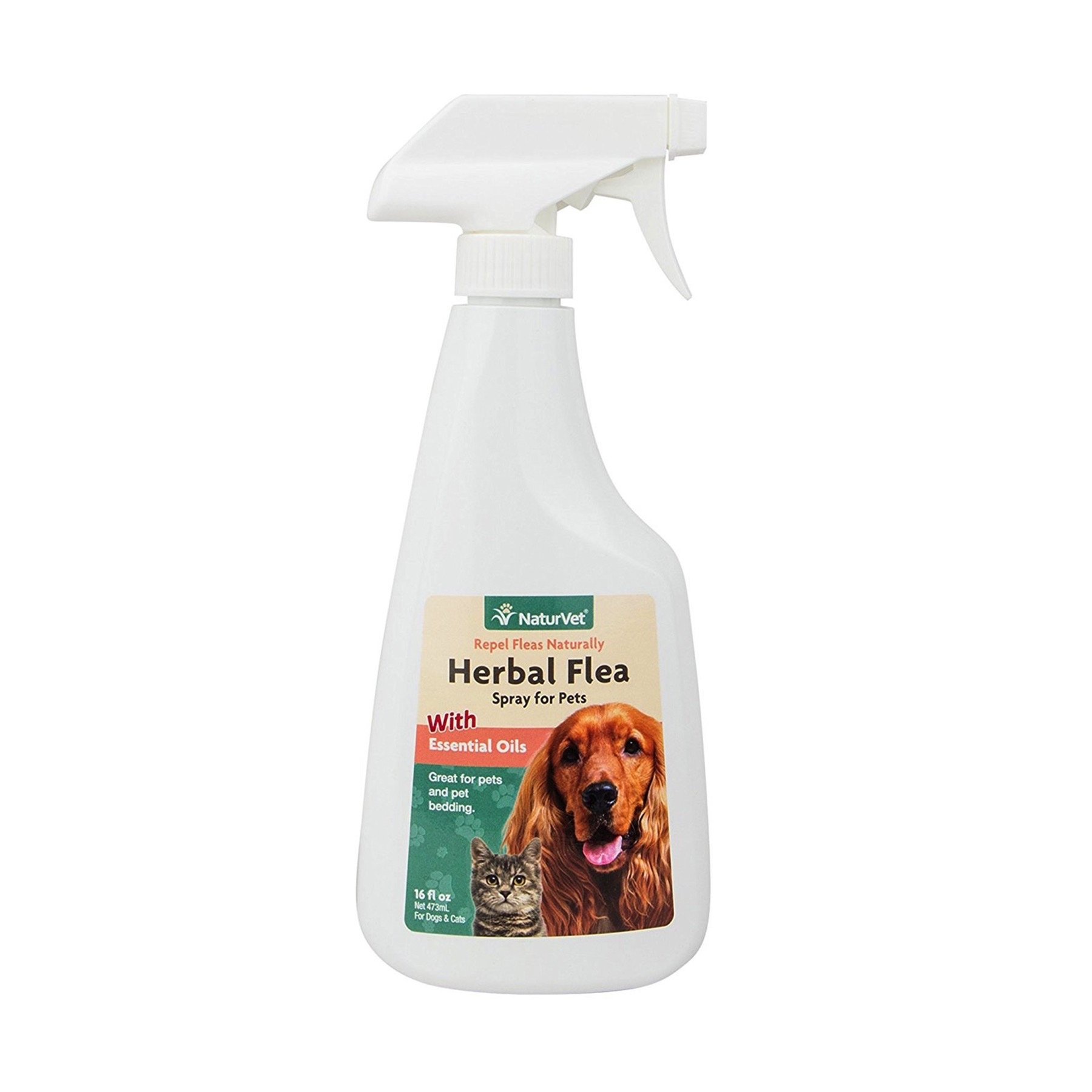NaturVet Herbal Flea Spray with Essential Oils for Dogs and Cats, 16 oz Liquid, Made in USA