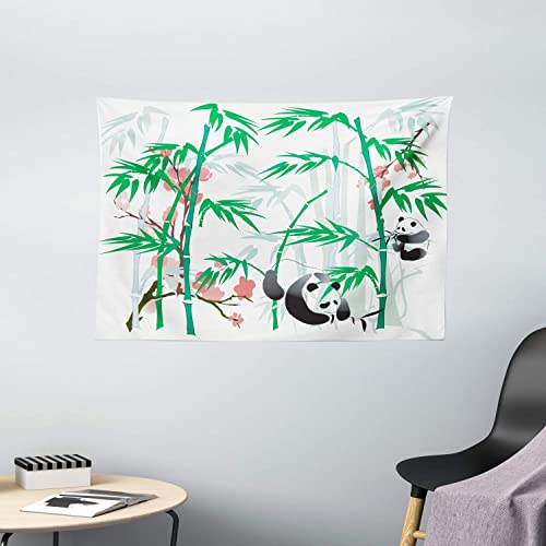 Ambesonne Bamboo Tapestry, Giant Woody Grass Bamboos and Panda Bear in Chinese Tropics Print, Wide Wall Hanging for Bedroom Living Room Dorm, 60 X 40 , Black White