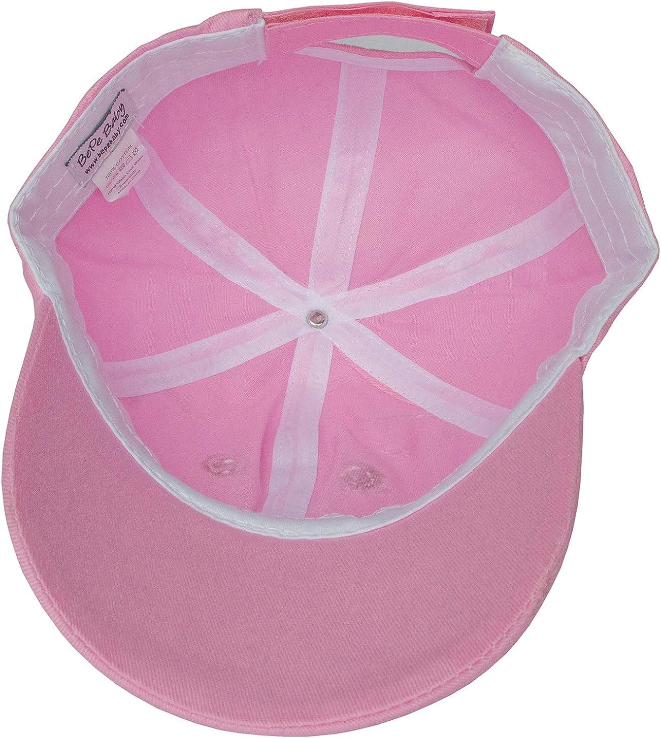 BePe Baby Little Girls Kids Toddler Sun Protection Beach Kitty Cat Summer Baseball Cap Hat Pink 2 to 4 Years