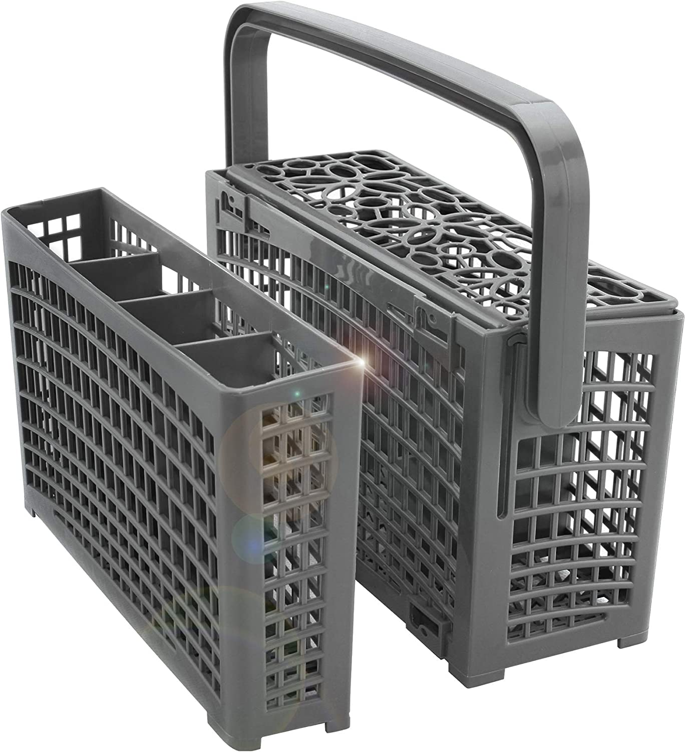 Dinnerware Utensil Basket Compatible with Samsung Bosch LG Frigidaire KitchenAid Whirlpool,Gray Nuovoware Dishwasher Cutlery Basket Universal Divided Detachable 2-in-1 Silverware Replacement Basket