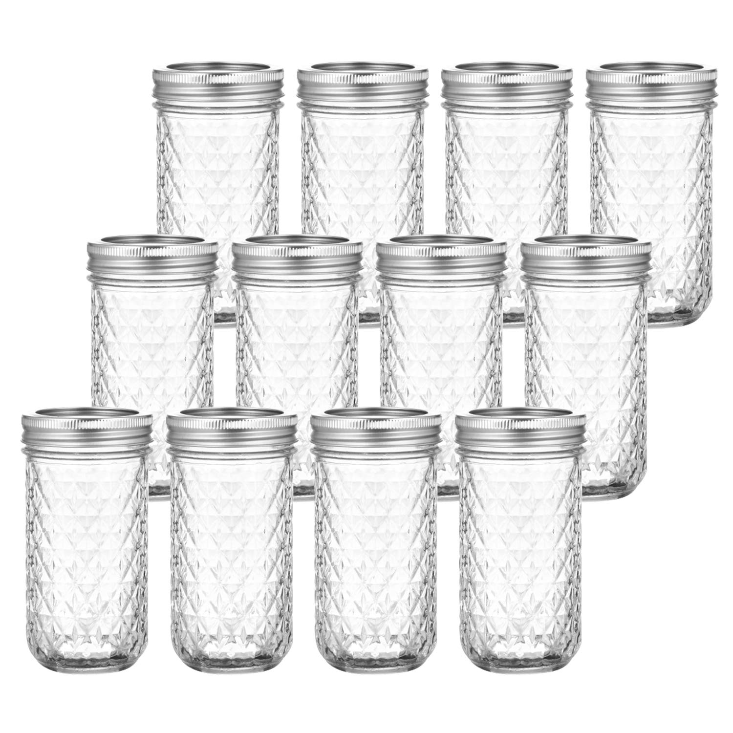 Tebery 12 Pack Mason Jars Canning Jars 12 OZ Jelly Jars With Regular Lids and Bands For Canning, Freezing, Preserving, Beverages & Jar Decor