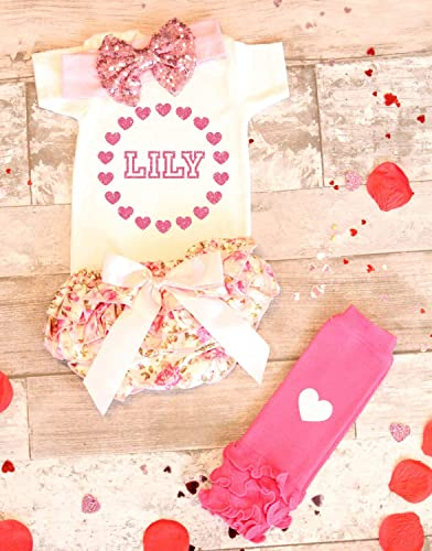2e673e4ed Personalized Name Baby Girl Clothes Baby Girl Valentines Day Outfit, Baby  Girl going home outfit, Baby girl glitter newborn outfit, Baby Shower gift,  ...