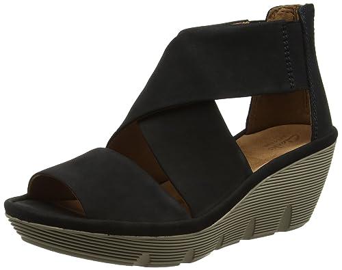 1c04a42daee3 Clarks Women s Clarene Glamor Black Leather Fashion Sandals - 5.5 UK India ( 39 EU