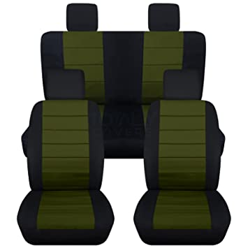 2007 2010 Jeep Wrangler JK Seat Covers Black Hunter Green