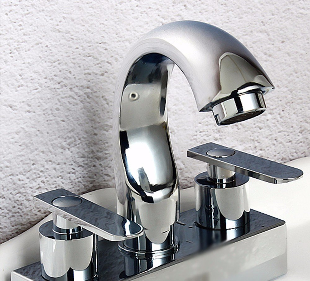 5 Hlluya Professional Sink Mixer Tap Kitchen Faucet Stainless Steel, double open, health, redation, and two holes, wash basins, hot and cold water faucets, 3