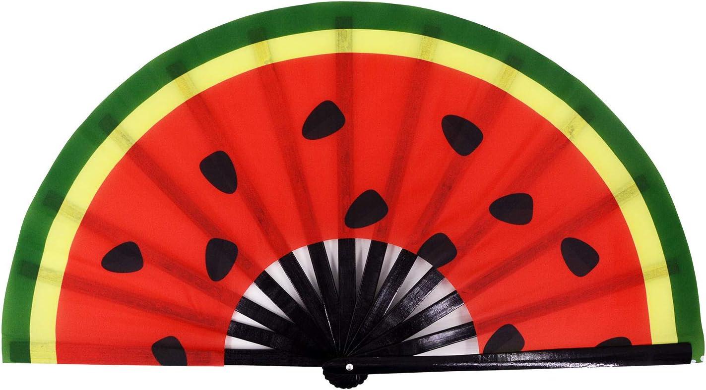 Amajiji Large Folding Fan, Chinease/Japanese Bamboo and Nylon-Cloth Folding Hand Fan, Hand Folding Fans for Women/Men, Hand Fan Festival Fan Gift Fan Craft Fan Folding Fan Dance Fan (Watermelon)