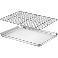 """Baking Sheet with Rack Set - Fungun (16.02"""" x 12.13""""Pan / 15.24'' x 11.22''Cooling Rack) Stainless Steel Heavy-Duty…"""
