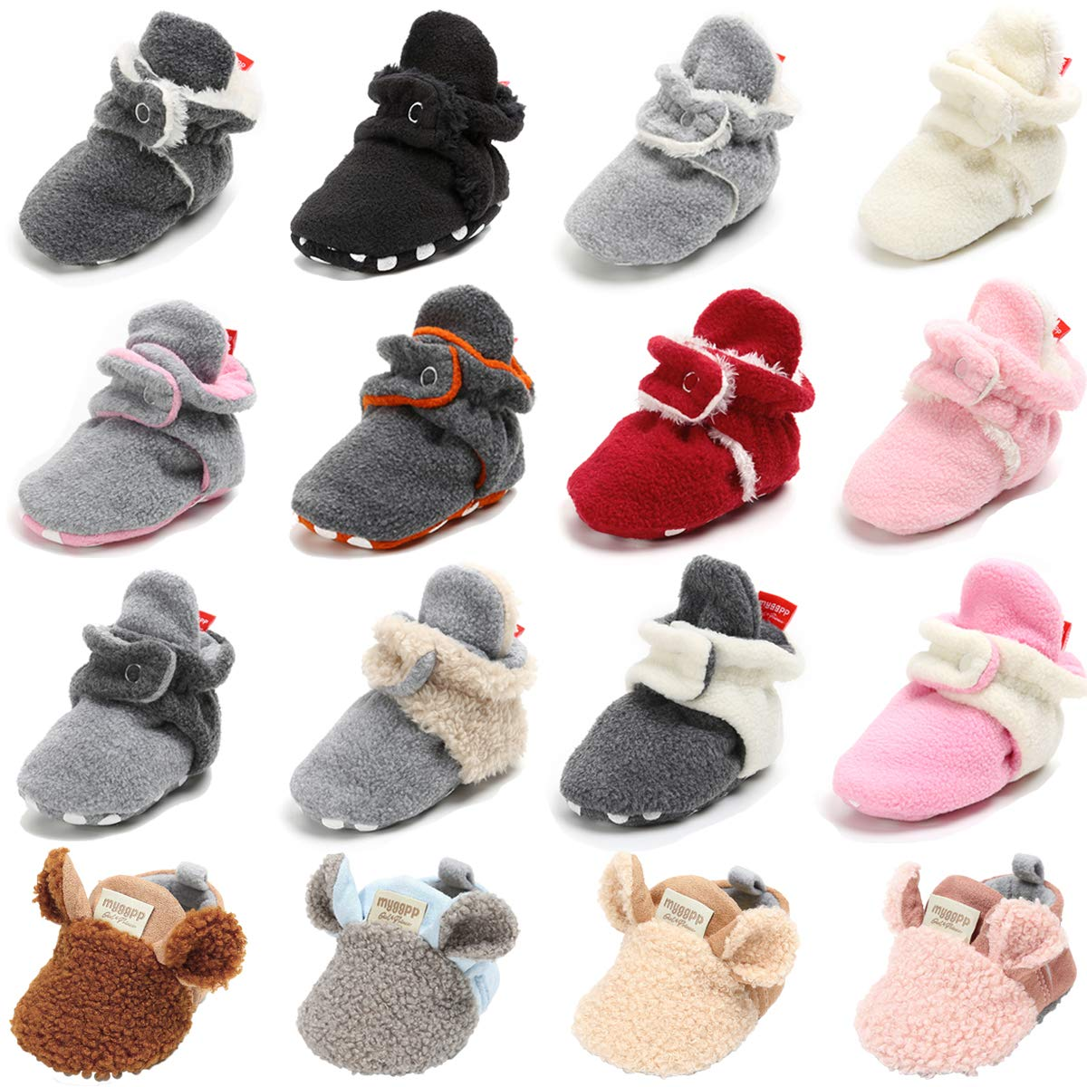 98823db7d9c BENHERO Newborn Baby Boys Girls Cozy Fleece Stay on Booties with Grippers  Infant Slippers Winter Socks Non Skid Crib Shoes