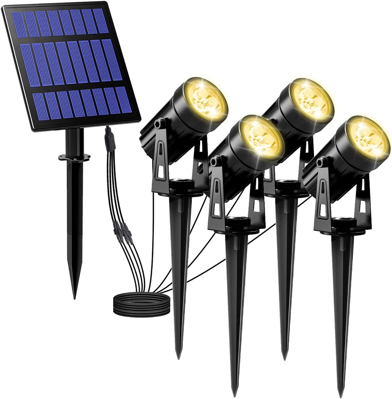 T-SUNUS 3W Solar Spotlights, IP65 Waterproof Outdoor Solar Lights Landscape Lighting Wall Light Auto On/Off with 4 Warm White Spot Lamp for Tree,Patio, Yard, Garden