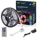 LE 5m 150 5050 Leds Flexibler LED Streifen, RGB, Farbwechsel, DIY-Beleuchtung led strip Inklusive Netzteil und 44 Tasten IR-Fernbedienung, LED Lichtband, Deko, Weihnachten, Party, Ambientbeleuchtung