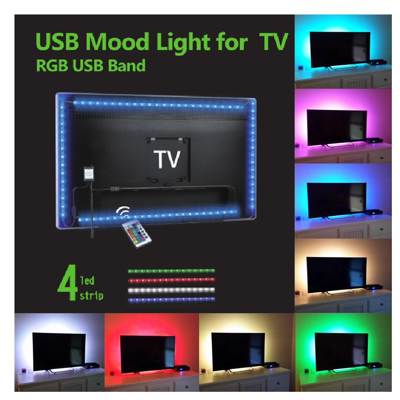 SMYLLS LED Multi-color TV Backlights Kit Home Movie Theater Decoration, Suitable for 40'' to 55'' Screen, Extra 5V Power Adapter