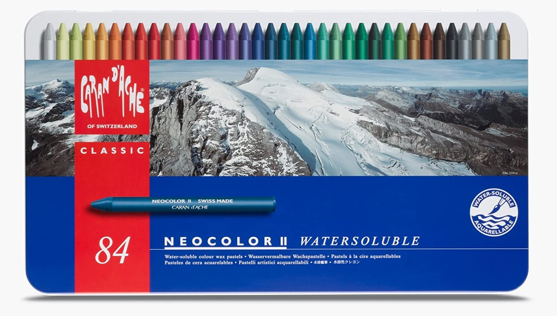 Caran D'ache Neocolor II-Set da 84 a inchiostro di china per schizzi Watersoluble Wax Oil Pastels-Set valigetta In metallo con 7500_384 Caran Dache