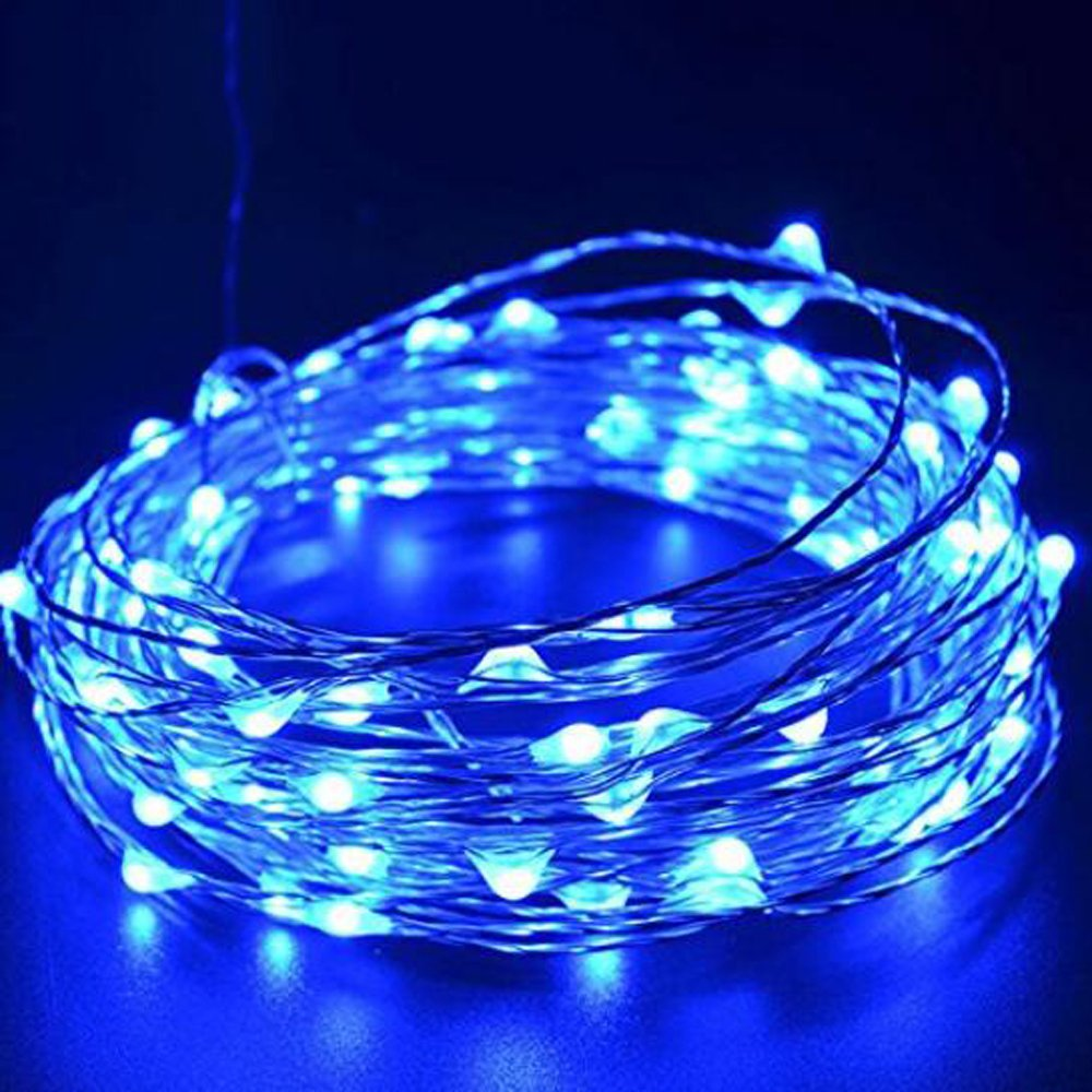 Emwel Blue LED Copper Fairy Lights 33ft 10M 100 LEDs USB Powered Starry Lights Waterproof Decor String Lights LED Flexible Bendable Wire Lights Rope Lights for Outdoor and Indoor DIY Decorations --Blue