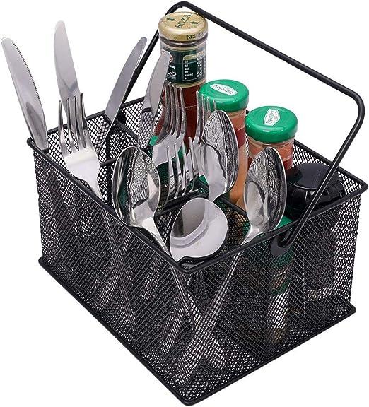 Black Utensil Holder Kitchen Condiment Organizer and Flatware Utensil Caddy